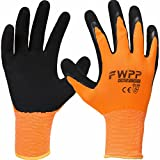 FWPP High Visibility Latex Coated Work Gloves,Soft Handiness Wearproof Skid Resistance Comfortable foam Safety Protective Glove Extra Large-1Box(120Pairs) Fluorescence Orange