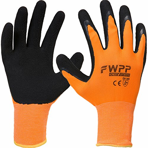 FWPP High Visibility Latex Coated Work Gloves,Soft Handiness Wearproof Skid Resistance Comfortable foam Safety Protective Glove Extra Large-1Box(120Pairs) Fluorescence Orange by FWPP
