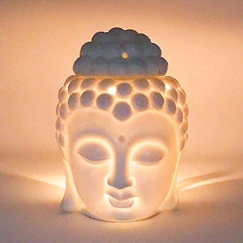 Buddha Ceramic Statue Head (Moylor Ceramic Buddha Head Essential Oil Burner and Tea Light Candle Holder for Amora, Spa, Yoga, Meditation, Zen - White)