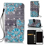 5c iphone light blue wallet case - FlREFlSH iPhone SE/5S Case, Synthetic Leather Shell Durable Card Wallet Full Body Protection Wallet Case 3D Painted Folio Flip Credit Card Wallet Case for Apple iPhone 5S/SE-Blue Flower