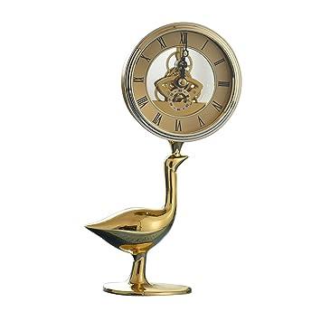 SESO UK- Creativo Reloj de Mesa de Cobre Reloj silencioso Escritorio Relojes Decorativos con Equipo mecánico para la Sala de Estar: Amazon.es: Hogar
