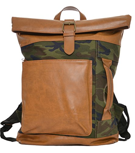 - YoungLA Roll Top Vegan Leather Backpack Canvas School Urban 902 Camo Green