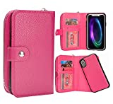 iPhone X Wallet Case, HYSJY Magnetic Detachable Flip Leather Case Purse With Card Holder Slots Wristlet Strap Zip Pocket Removable Slim Back Cover for iPhoneX (Rose)