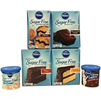 Pillsbury Sugar Free Variety Cake Mix and Frosting Bundle. Moist Cake, Supreme Brownie, Cinnamon Muffin and Icing Easter, Mother's Day, Birthday