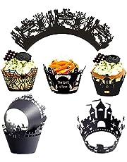 30 Stuks Halloween Muffin Bakvorm, Halloween Cupcake Bakvorm, Halloween Cupcake Voeringen, Geschikt voor Doe-Het-Zelf Taartliefhebbers, Geschikt om Thuis Taarten te Bakken(6 Soorten)