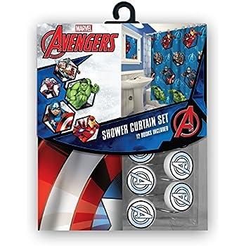 Marvel All New Fabric Shower Curtain Set 12 Matching Hooks Avengers