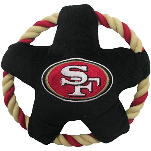 SAN Francisco 49ERS Star Disk Flying Pet Toy with Tough Ropes & Inner Squeaker for Dogs & Cats