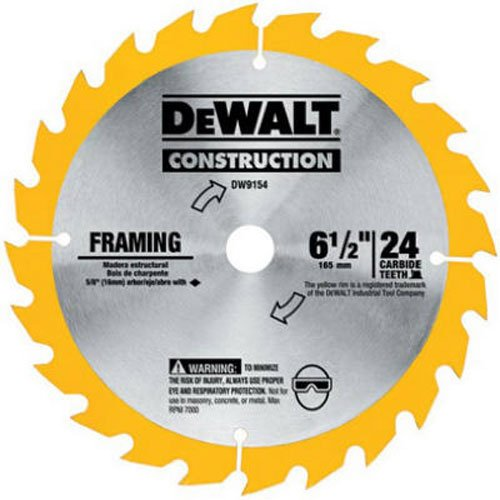 DEWALT DW9154 6-1/2-Inch 24 Tooth ATB Framing Saw Blade, used for sale  Delivered anywhere in USA