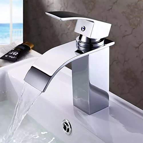 New Single Handle Big Spray Basin Mixer Waterfall Tap Lavatory Faucet , Chrome Finish Ys2383