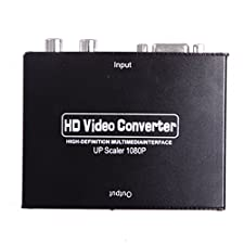 HDE VGA w/Audio to HDMI Video Scaler Converter Box with Power Adapter VGA to HDMI Adapter
