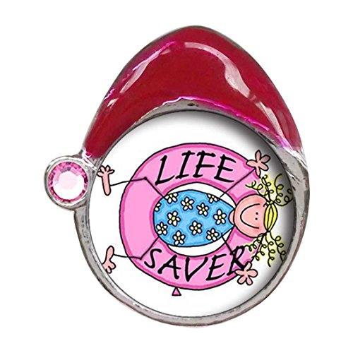 Life Saver Light Rose Crystal October Birthstone Red Santa Hat Charm Beads Bracelets