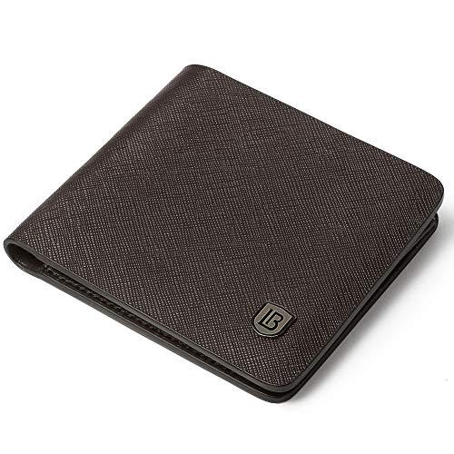 BOSTANTEN Wallets for Men Genuine Leather RFID Blocking Bifold Wallet With 2 ID Window Coffee