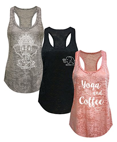 Tough Cookies Womens Burnout Elephant Lotus Small Yoga Coffee Tank Top 3 Pack  Small   Lf  Heather Grey Peach Black