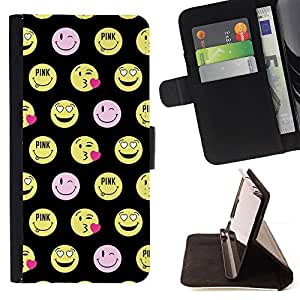 - Queen Pattern FOR LG OPTIMUS L90 /La identificaci????n del cr????dito ranuras para tarjetas tir????n de la caja Cartera de cuero cubie - happy smiley face funny emoticon -