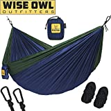 wwww Hammock for Camping - Single & Double Hammocks Gear For The Outdoors Backpacking Survival or Travel-SO Navy Blue & Forrest Green-SingleOwl