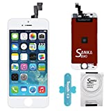 SANKA iPhone 5S LCD Screen Replacement White, Digitizer Display Retina Touch Screen Glass