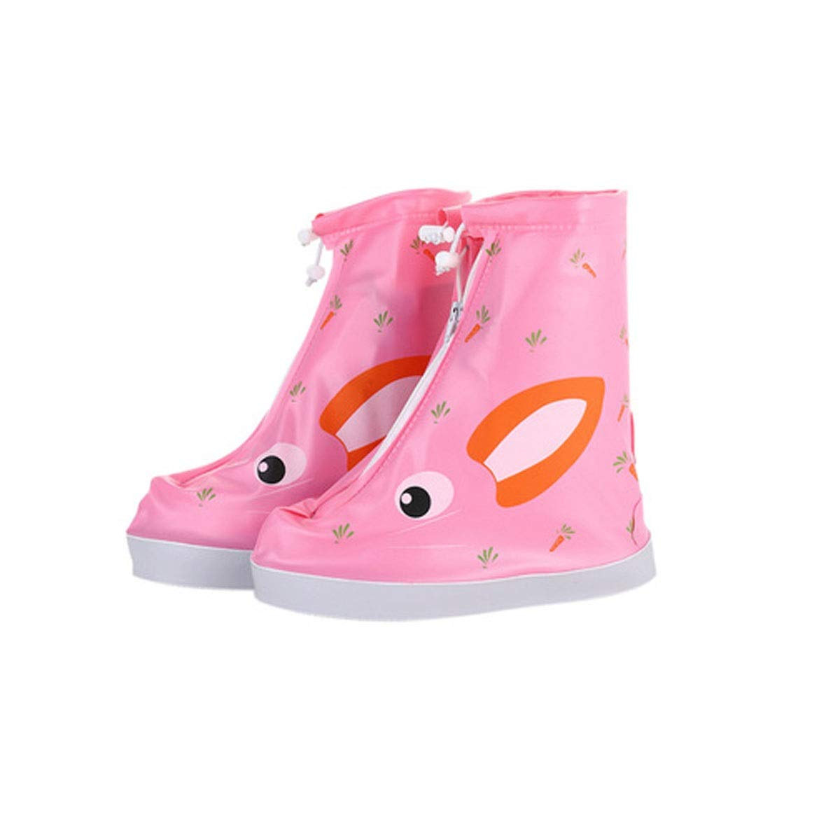 WUHUIZHENJINGXIAOBU Rain Boots, Non-Slip Thick Wear-Resistant Rubber Waterproof Rain Boots, White, Red, Blue, Pink Shoe Covers That can be Worn on Rainy Days, (Color : Pink, Size : S)