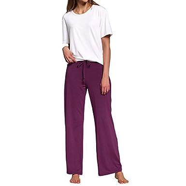 Zarupeng Elastische Hosen der Frauen einfarbig Damen Stretch Casual Schlaf Yoga Lose Pyjama Hosen Laufen Arbeiten