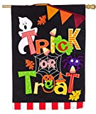 Evergreen Trick or Treat Burlap House Flag, 28 x 44 inches