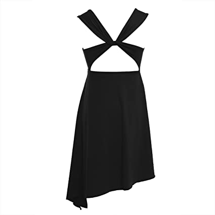 FEESHOW Kids Big Girls Cross Back Gymnastic Leotard Irregular Lyrical Dance  Dress Ballet Costumes Black 3 071f37063043