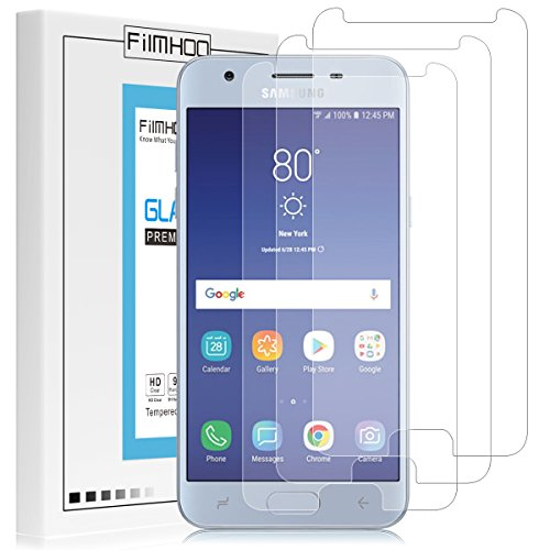 [3-Pack] FilmHoo for Samsung Galaxy J3 2018 Tempered Glass Screen Protector,HD Clear,Bubble Free,Anti-Scratch with Lifetime Replacement Warranty