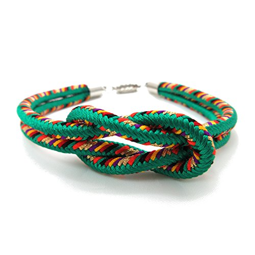 KYOTO ASAHIYA 8colors Japanese Kumihimo Kimono Braid Bracelet with Magnetic Clasp Handmade in Japan (Green)