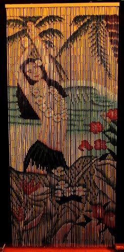 (Bamboo Beaded Curtain Hawaiian Tropical Hula Dancer Girl Decor Door Way Doorway Curtain Room Divider 90 Strands)