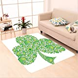 Nalahome Custom carpet ish Shamrock Figure Made with Small Clover Patterns Holy Trinity Symbol Graphic Work Green White area rugs for Living Dining Room Bedroom Hallway Office Carpet (6' X 9')