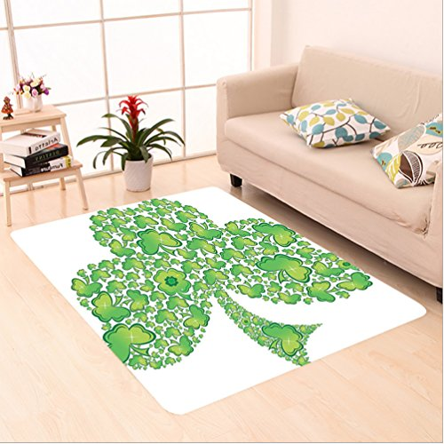 Nalahome Custom carpet ish Shamrock Figure Made with Small Clover Patterns Holy Trinity Symbol Graphic Work Green White area rugs for Living Dining Room Bedroom Hallway Office Carpet (6' X 9') by Nalahome