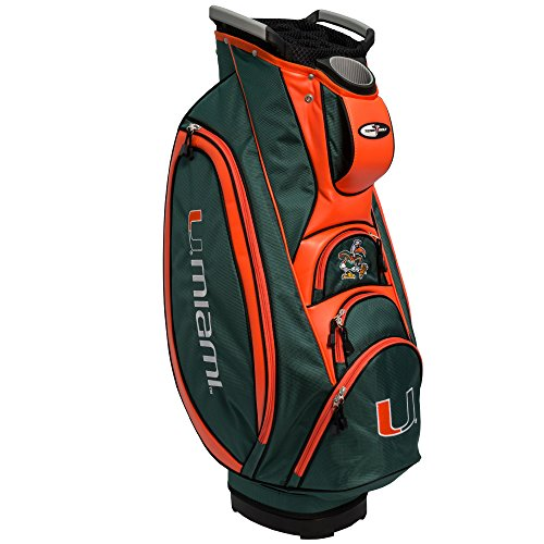 Team Golf NCAA Miami Hurricanes Victory Golf Cart Bag, 10-way Top with Integrated Dual Handle & External Putter Well, Cooler Pocket, Padded Strap, Umbrella Holder & Removable Rain Hood