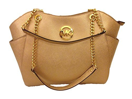 Michael Kors Jet Set Travel Large Chain Tote Pale Gold Saffiano Leather Shoulder Bag