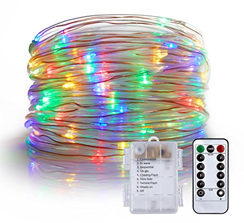 LXS Rope Lights Battery Powered Waterproof 33ft 100 LED with Remote Timer, 8 Modes Dimmable Fairy Lights for Palm Tree Decor,Fencing Decor and Christmas Tree Decoration(Multi Color) (Trees Christmas Palm)