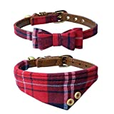 The creativehome Dog Cat Collars Leather for Small pet - Adjustable Bow-tie and Scarf Puppy Collars with Bell - Cute Plaid Red Bandana Dog Collar(2 pack)