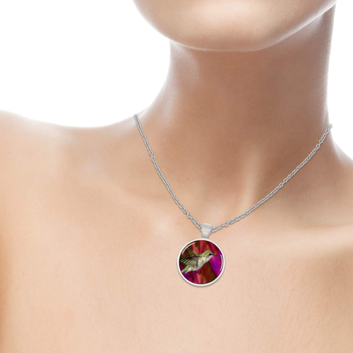 Family Decor Green Purple Hummingbird Animal Pendant Necklace Cabochon Vintage Long Sliver Chain Statement Necklace Fine Jewelry