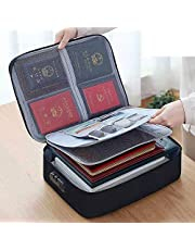 Oxford Shock-Proof and Waterproof Document Bag with Safe Code Lock, Multi-Layer Storage Pouch Credential Bag Diploma Storage Important Document and File Pocket with Separator (Black)