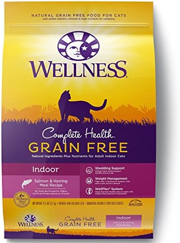 Wellness Complete Health Natural Grain Free Salmon Herring Indoor Dry Cat Food, 11.5 Pound Bag