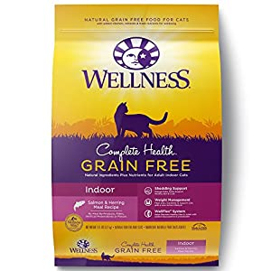 Wellness Complete Health Natural Grain Free Dry Cat Food,  Indoor Health Salmon & Herring Meal Recipe, 11.5-Pound Bag 106