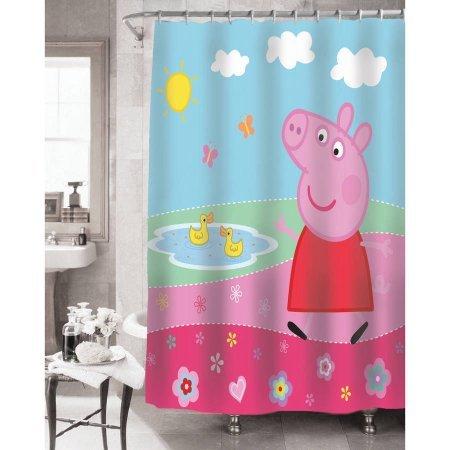 Super Cute, Machine Washable Peppa Pig Peppa's Pond Shower Curtain, 72