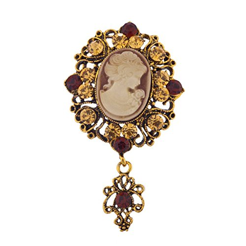 Lux Accessories Antique Vintage Brown Cameo Brooch Burnished Gold Paver Stones