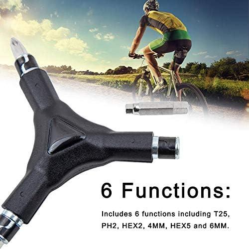 Somedays 6-in-1-Y-Schlüssel - 6 Austauschbare Bits - Inbussechskant-, T25- Und PH2-Schraubendreher - Stabiles, Einfaches Und Komfortables Fahrrad-Multitool-Kit