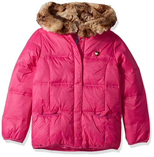 Tommy Hilfiger Girls' Adaptive Puffer Jacket with Magnetic Buttons and Faux Fur Hood, pink popsicle Medium