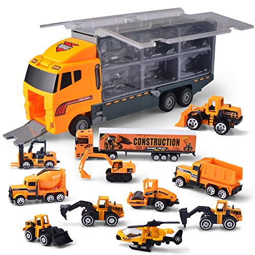 11 in 1 Die-cast Construction Truck Vehicle Car Toy Set Play Vehicles in Carrier Birthday Gifts for Over 3 Years Old…