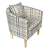 Panana Premium Tartan Fabric Tub Chair Armchair Dining Living Room Office Reception Grid With Pillow
