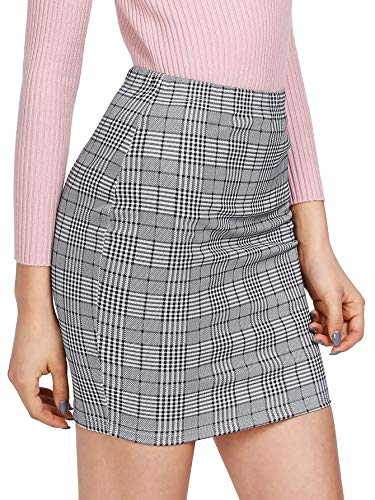 SheIn Women's Basic Stretch Plaid Mini Bodycon Pencil Skirt Medium Grey