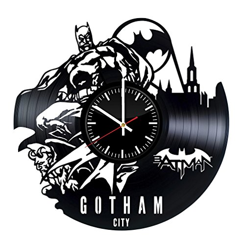 Batman Gotham City Vinyl Wall Clock - Superhero Original Present For Movie's Fans - Wall Art Room Decor Handmade Decoration Party Supplies Theme Birthday Gift - Vintage And Modern Style -