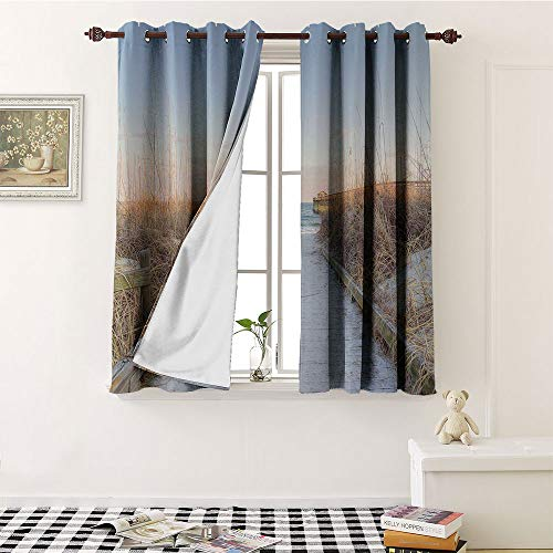 Seaside Decor Collection, Waterproof Window Curtain, Sunset Sea Oats on the Atlantic Coast Myrtle Beach State Park Myrtle Beach Image Print, Decorative Curtains For Living Room W84 x L72 Inch Ivory Bl (Myrtle To Beach Dallas)