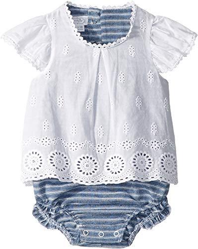 (Mud Pie Baby Girl's Eyelet Crawler (Infant) White 3-6 Months)