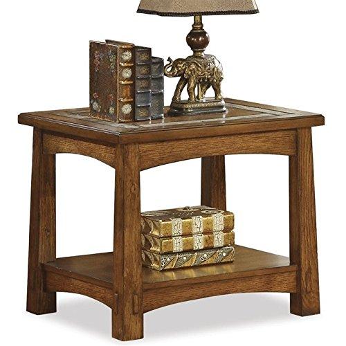 Oak Finish Tile Top (Riverside Furniture Craftsman Home Side Table in Americana Oak Finish)