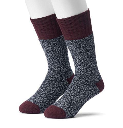 Croft & Barrow Men's 2-Pairs Acrylic Blend Marled Crew Boot Socks Wine 10-13