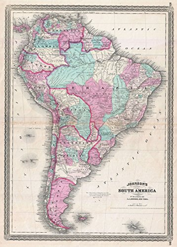 on Map of South America, Version 5, 1870 | Historical Antique Vintage Decor Poster Wall Art | 24in x 36in ()